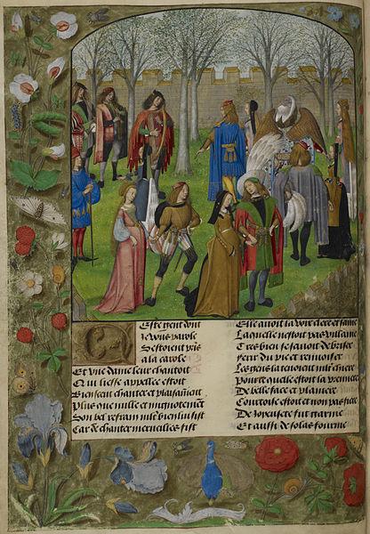 File:The Carolle in the Garden - Roman de la Rose (c.1490-1500), f.14v - BL Harley MS 4425.jpg