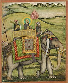 Bahadur Shah, distinguished by a halo, with two other men on an elephant