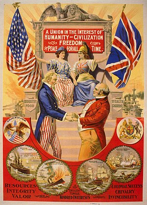 The Great Rapprochement - Uncle Sam embracing John Bull, while Britannia and Columbia hold hands and sit together in the background in The Great Rapprochement (1898).