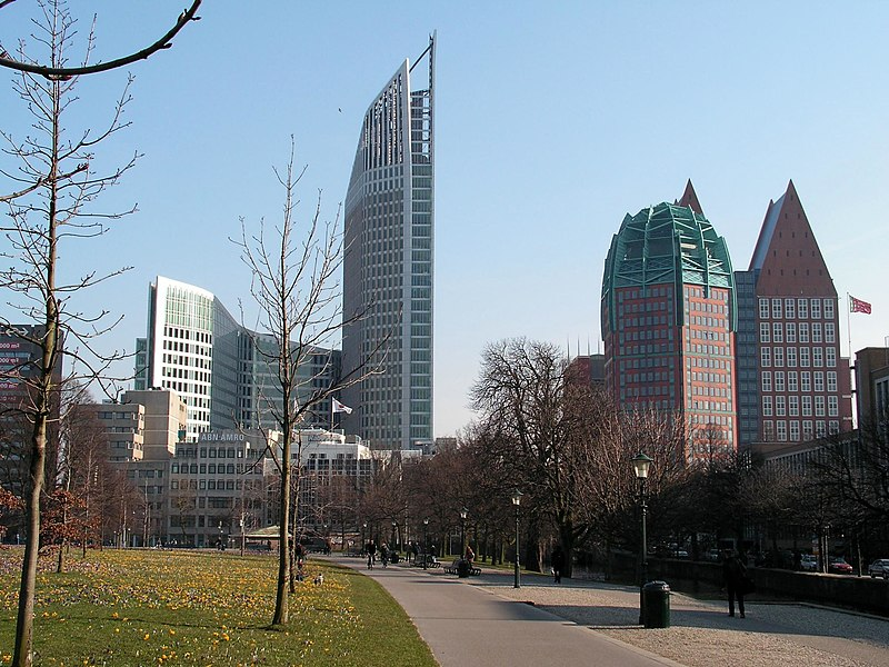 View of the 'Hoftoren' (left) and the Ministry of Public Health, Welfare and Sports (right)