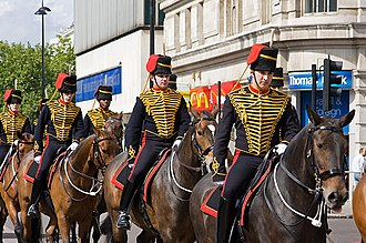 Uniforms of the British Army - Troopers of the King's Troop, Royal Horse Artillery in their blue light cavalry-style full dress uniform