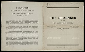 New York Peace Society - The Messenger of the New York Peace Society, 1918