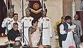 The President, Shri Pranab Mukherjee administering the oath as Minister of State to Shri Babul Supriya (Babul Supriyo) Baral, at a Swearing-in Ceremony, at Rashtrapati Bhavan, in New Delhi on November 09, 2014.jpg