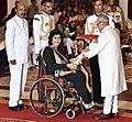 The President, Shri Pranab Mukherjee presenting the Padma Shri Award to Ms. Deepa Malik, at a Civil Investiture Ceremony, at Rashtrapati Bhavan, in New Delhi on March 30, 2017.jpg