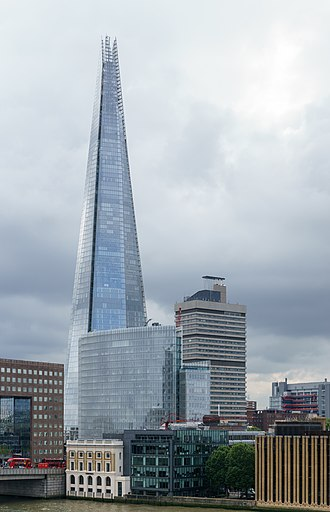 The News Building (London) - The News Building lies immediately in front of The Shard, with Guy's Hospital's Tower Wing to the right