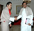 The Union Home Minister, Shri P. Chidambaram meeting the King of Bhutan, HM Jigme Khesar Namgyel Wangchuck, in New Delhi on December 23, 2009.jpg