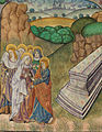 The Virgin, John and the other mourners leave the sealed tomb (f. 117v) Cropped.jpg
