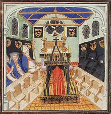 A coffin before an altar, surrounded by bishops and monks