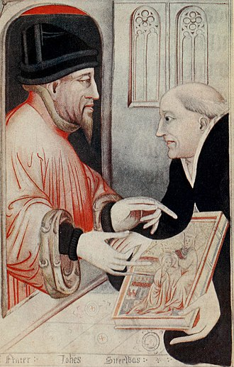 Harleian Library - A gospel book (Harley 7026); the last page shows the donor Lord Lovel presenting the book to Salisbury Cathedral