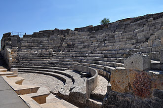 Segobriga - Segóbriga Theater: The Theatre was built in the first century. The orchestra had three tiers of seats for VIP's and is preserved together with seats for spectators divided into sections according to their social classes. The upper cavea was built on the city wall on a vault over a street