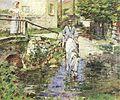 Theodore Robinson (1852-1896) - Père Trognon and His Daughter at the Bridge (1891).jpg