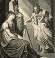 Thetis praying Hephaestus to forge weapons for Achilles from Vignettes for Homer ca. 1805. by engraver E Smith and painter J H Fussli-cropped.png