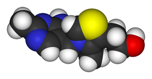 Spacefill model of thiamine of the cation in t...