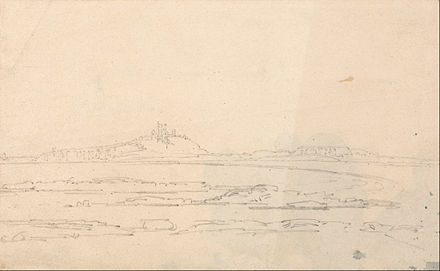 A sketch of the castle by Thomas Girtin, 1796 Thomas Girtin - Dustanborough Castle from a Distance - Google Art Project.jpg