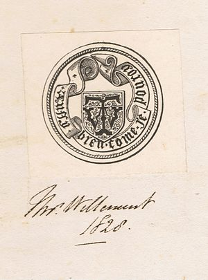 Thomas Willement - Willement's bookplate in a copy of Remarks on the Seals Attached to the Letters from the Barons of England to Pope Boniface the Eighth in the Year 1301, Respecting the Sovereignty of Scotland, by Nicholas Harris Nicolas, FSA, London, 1826.