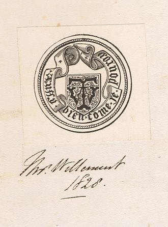 Nicholas Harris Nicolas - Thomas Willement's bookplate in a copy of Remarks on the Seals attached to the letters from the barons of England to Pope Boniface the eighth in the year 1301, respecting the sovereignty of Scotland, by Nicholas Harris Nicolas, FSA, London, 1826.