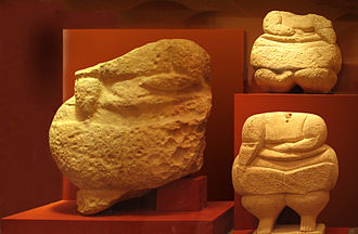 National Museum of Archaeology, Malta - Corpulent figures from Ħaġar Qim on display at the museum