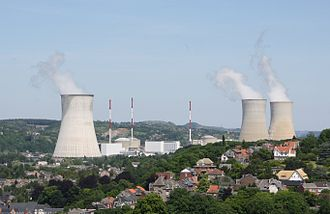 Tihange Nuclear Power Station - Tihange nuclear power plant seen from the Citadel of Huy