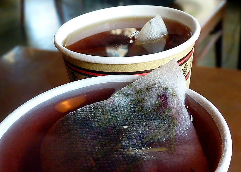 File:Tisane tea bag steeping close-up.jpg