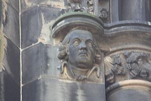Tobias Smollett - Tobias Smollett as depicted on the Scott Monument.