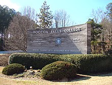 Toccoa Falls College, entrance sign.JPG