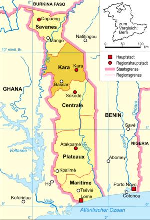 Kara Region - Image: Togo karte politisch kara