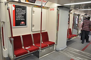 Bombardier Movia - Interior of the Toronto Rocket, showing the wide gangway between cars