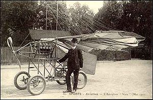 Traian Vuia - A postcard of Vuia and his 1907 airplane Vuia II, shown here with folded wings