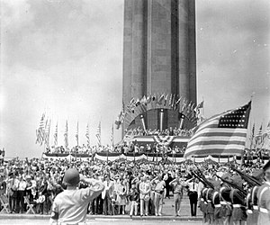 National World War I Museum and Memorial - Commemorative ceremonies on its 14th anniversary at the Liberty Memorial, c. 1940