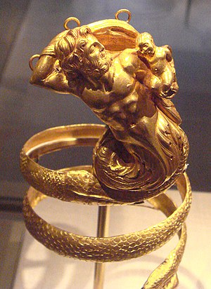 Triton (mythology) - Gold armband with Triton holding a putto, Greek, 200 BC (Metropolitan Museum of Art)