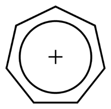 a regular heptagon enclosing a smaller, concentric circle, with a plus sign in the middle