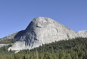 North face (Fairview Dome) - Regular Route can be seen in the center left on the border between shade and light.