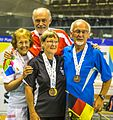 Turin, Italy…2013 WMG medal presentations…Open MX 70…Bronze Marg & Murray and Roslyn & Wilhelm (10831026156).jpg