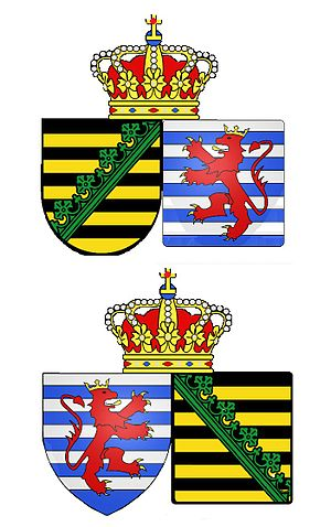 Coat of arms of Saxony - Image: Twee wapenschilden, alliantiewapens respectant