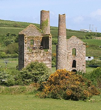 Pool, Cornwall - Two engine houses of the Grenville United Mine