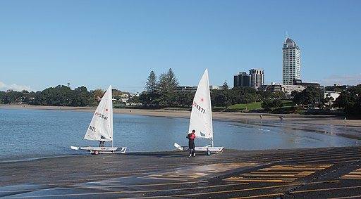 Two sailboats on the main Takapuna boat ramp