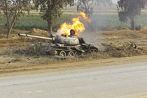 Type 69 tank - Type 69 Main Battle Tank (MBT) north of the An Nu'maniyah Bridge on Highway 27 destroyed during the US Invasion of Iraq in April 2003