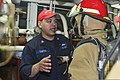U.S. Navy Damage Controlman 2nd Class Pedro Santos conducts firefighting training during a general quarters drill aboard the guided missile cruiser USS Monterey (CG 61) April 20, 2013, in the Mediterranean Sea 130420-N-QL471-091.jpg