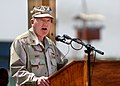 U.S. Navy Rear Adm. James Hart speaking about his tour as commander, Combined Joint Task Force - Horn of Africa.jpg