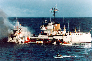 USCGC Citrus (WLB-300) - MV Pacific Star after ramming the USCG Citrus
