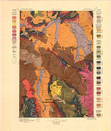 Multicolored geological map