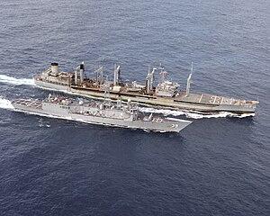 USS Pawcatuck (AO-108) - Image: USNS Pawcatuck (T AO 108) USS Doyle (FFG 39) 1990