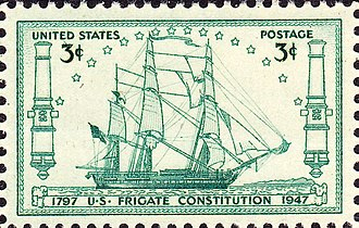 Ships on Stamps: the USS Constitution. USS Constitution 150 Anniversary Issue of 1947-3c.jpg