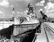 USS Nevada (BB-36) in drydock
