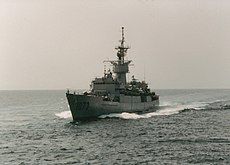 USS Robert E. Peary (FF-1073) underway in the Persian Gulf, in 1991.jpg