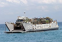 US Navy 040223-M-4806Y-043 A Landing Craft Utility (LCU) arrives just offshore to unload supplies and equipment in support of exercise Balikatan 2004.jpg