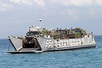 Landing craft - A US Navy Landing Craft Utility (LCU) arrives to unload supplies and equipment in an exercise in Ternate, Cavite, Philippines