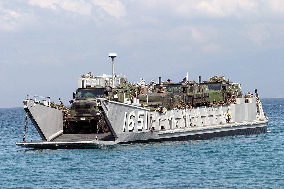 US Navy 040223-M-4806Y-043 A Landing Craft Utility (LCU) arrives just offshore to unload supplies and equipment in support of exercise Balikatan 2004