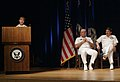 US Navy 050526-N-2383B-269 Chief of Naval Operations (CNO), Adm. Vern Clark, and Master Chief Petty Officer of the Navy (MCPON) Terry Scott, far right, listens to remarks by Hospital Corpsman 1st Class Shannon R. Dittlinger.jpg