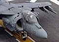 US Navy 050804-N-9866B-005 A Marine Corps AV-8B Harrier II, assigned to the Blacksheep of Marine Attack Squadron Two One Four (VMA-214), taxis down the flight deck.jpg